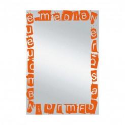 Espelho de casa de Banho Lua Letras Laranja 55x75 cm