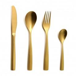 Set Talheres BCN Gold Inox - 24 Peças
