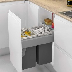 Cubos Reciclagem de Lixo 24 + 24 L, com Sistema de Guias