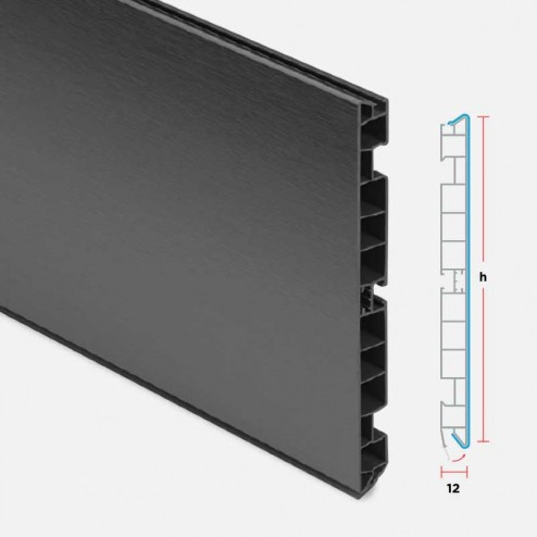 Rodapé PVC Alumínio Antracite Cozinha