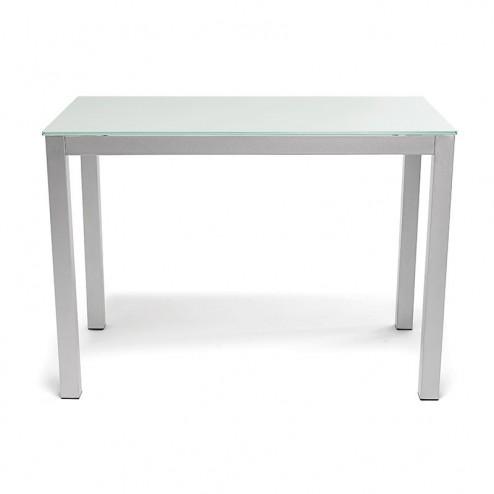 Mesa Cozinha Fixa de Vidro Branco 76x120x80 cm