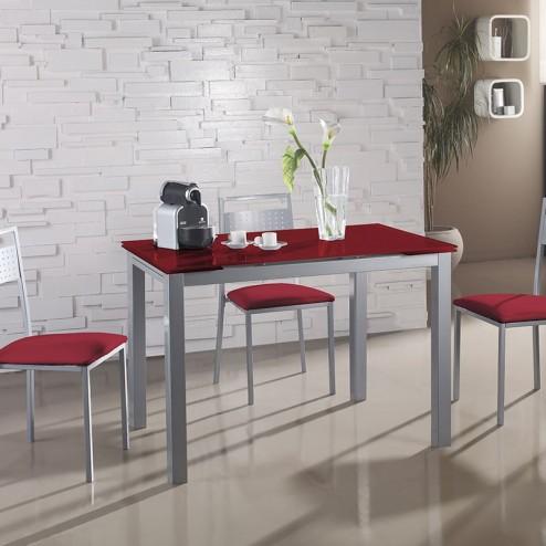 Conjunto Cozinha Mesa Vidro Extensível + 4 Cadeiras