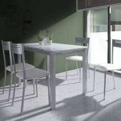 Conjunto Mesa Cozinha Vidro Extensível + 4 Cadeiras