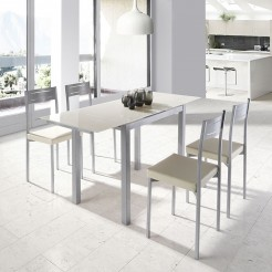 Conjunto de Cozinha Mesa Extensível + 4 Cadeiras