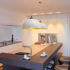 Lâmpada de Teto semi-esférica E27, 40W Look Cromo e Branco