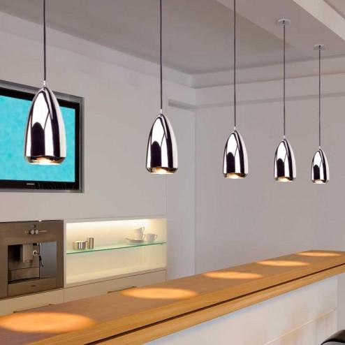 Lâmpada de Teto Decorativa Halógena GU10 75W Cromo Klauss