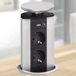 Torre de Tomadas Apoio com 2 entradas de Rede + Porta USB Evoline