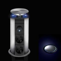 Torre de Tomadas Apoio com 2 entradas de Rede + 6 Leds Evoline