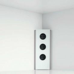 Torre de Tomadas Vertical Angular em Aço Inoxidável e Vidro Branco