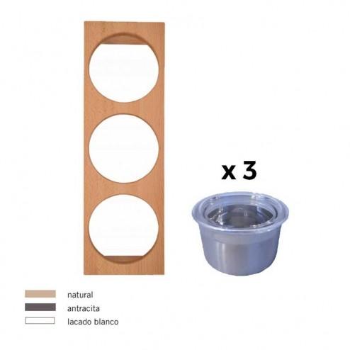 Portatarros + 3 Potes Em Inox, Cubertero Cube