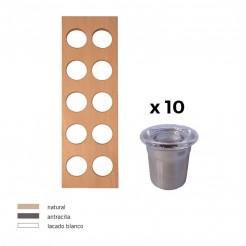 Porta-Condimentos + 10 Recipientes Inox Cubertero Cube