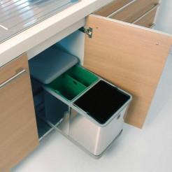 Balde Lixo Metálico 2 x 10,5 L para Móveis de 300 mm
