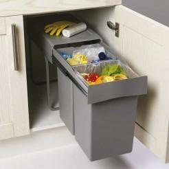 Balde Lixo Extraível 14 + 14 L para Móveis de 300 mm