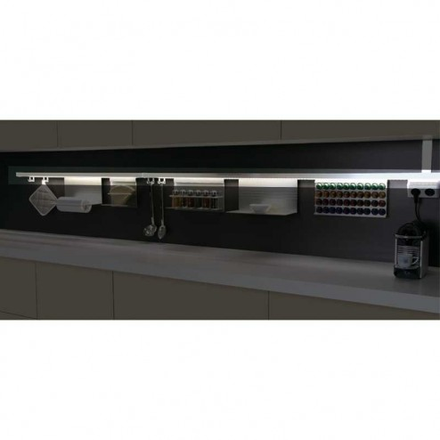 Kit Barra Alumínio Stark para Pendurar Acessórios de Cozinha