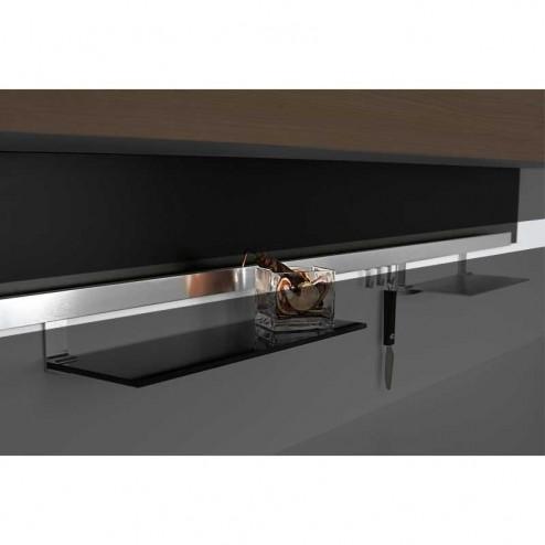 Kit Barra Alumínio Escovado Titã para Pendurar Acessórios de Cozinha