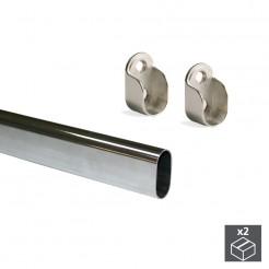 Barra para o guarda-roupa Oval de Aço 30x15 mm (2 pçs)