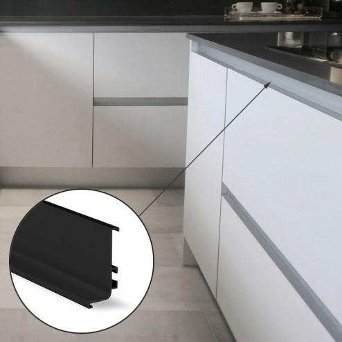 Perfil Gola Superior Horizontal Preto Cozinha